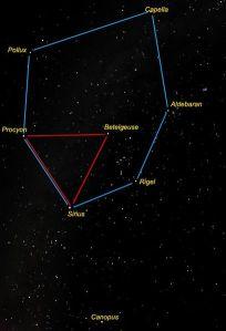 Hexagonul si Triunghiul de Iarna