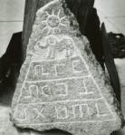 Pyramid Sun - Crespi Collection - Pre-Columbian incised stone tablet found during construction of airport at Cuenca, Ecuador, showing elephants and symbols which may be writing