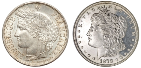 France 5 Francs 1851 vs Morgan Dollar 1878