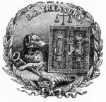 Old Treasury Seal - A Treasury seal, circa 1800, depicts a watchdog guarding the key to a strongbox. According to legend, the dog is Nero, the first watchdog of the U.S. Mint in 1793